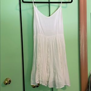Pins and Needles White Dress with Lace Overlay